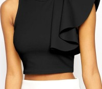 Black One-shoulder Ruffle Crop Top – OASAP – Women's Clothes – Blouses & Tunics – ,