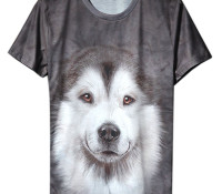 Gray 3D Cut Dog Print Short Sleeve T-shirt – Choies – Men's Clothes – Tops & Shirts – T-Shirts,