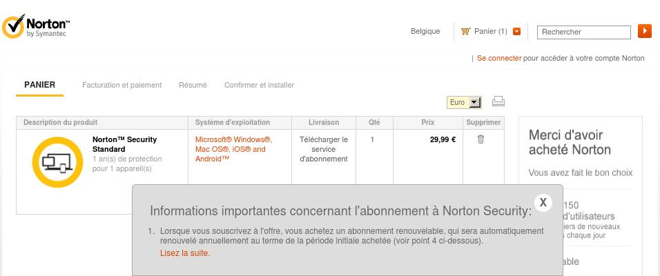 BE Français - Norton Security Standard - 10€ de réduction (Cart)