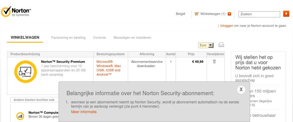 BE Dutch - Norton Security Premium - 10€ off (Cart)